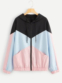 Plus Cut And Sew Panel Drawstring Hooded Jacket