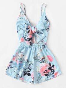 Plus Floral Print Bow Playsuit