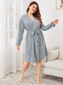 Plus Wrap Self Tie Night Dress