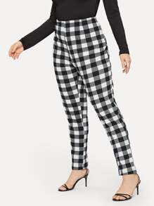 Plus Plaid Elastic Waist Pants