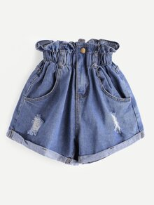 Plus Ripped Frill Waist Denim Shorts