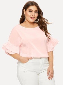 Plus Tiered Layer Flounce Sleeve Tee
