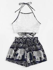 Plus Contrast Lace Knot Halter Top With Tribal Print Shorts