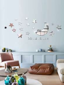 Moon & Star Mirror Sticker