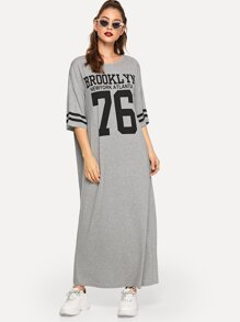Letter Graphic Varsity Striped Heather Knit Tee Dress