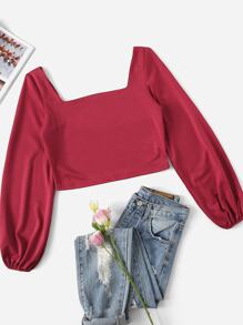 Lantern Sleeve Crop Top