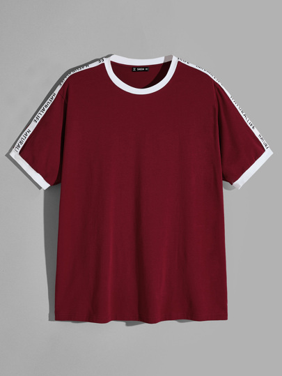 Men Letter Sleeve Ringer T-shirt