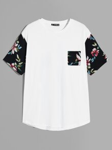 Men Drop Shoulder Floral Sleeve Pocket Tee