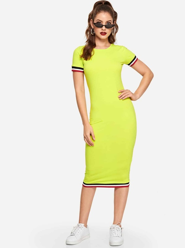 34e48315cc4 Neon Yellow Striped Bodycon Dress