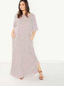 Plus Slant Pocket Striped Split Dress