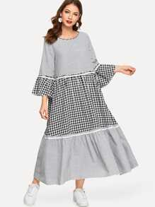 Striped Plaid Bell Sleeve Dress