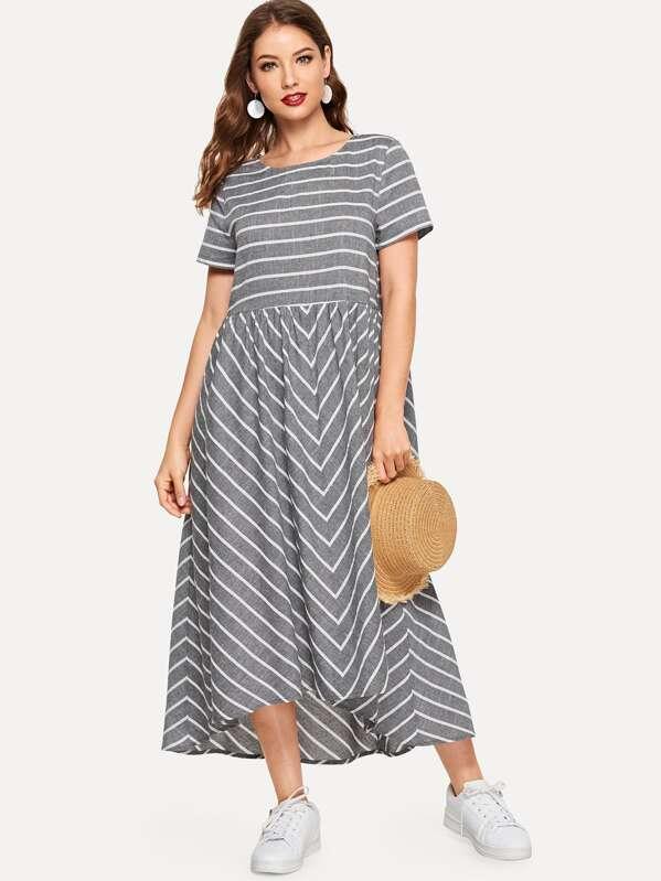 9f7dc4a7c فستان مخطط مع حافة منحنية | شي إن