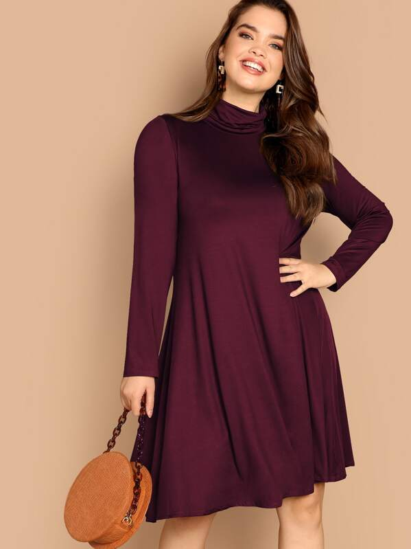 fe3b54599a536 Cheap Plus High Neck Solid Swing Dress for sale Australia | SHEIN