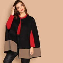 Plus Open Front Color Block Cape Coat