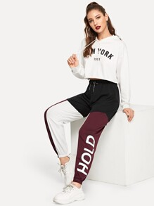 Drawstring Waist Colorblock Letter Sweatpants