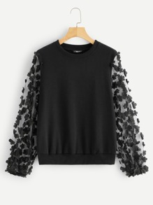 Flower Applique Mesh Sleeve Sweatshirt