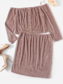 Plus Button Up Off Shoulder Fuzzy Top & Skirt Set