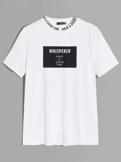 Men Letter Print Neck Graphic Tee