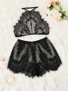 Eyelash Floral Lace Bralette With Shorts