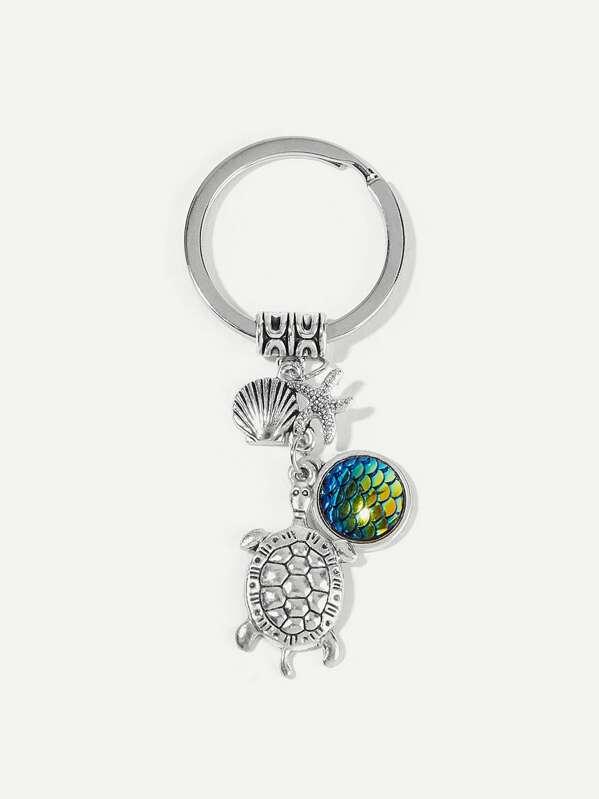 2999b1f9ff Metal Tortoise & Starfish Pendant Keychain   SHEIN