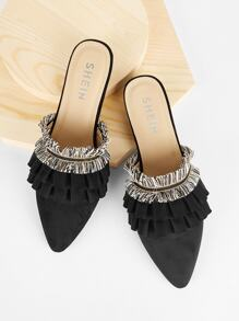 Tassel And Ruffle Detail Flat Mules