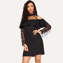 Cold Shoulder Mesh Yoke Sequin Fringe Sleeve Dress