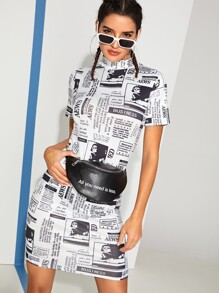 Newspaper Print Bodycon Dress