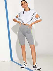 Cut Out Letter Print Tee