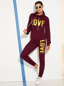 Letter Print Sweatshirt With Pants Set