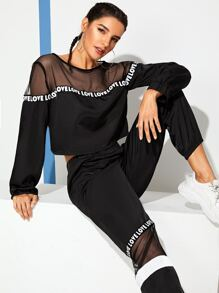 Contrast Mesh Top With Letter Print Pants