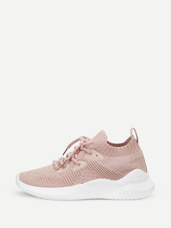 Lace Up Front Knit Trainers by Sheinside