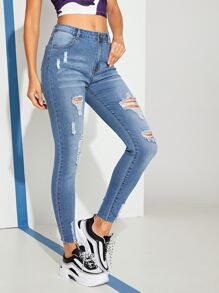 Ripped Pocket Detail Skinny Jeans