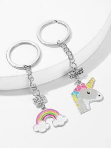 Cartoon Animal & Rainbow Metal Charm Keychain 2pack