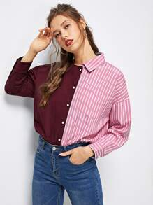 Asymmetrical Neck Striped Print Shirt