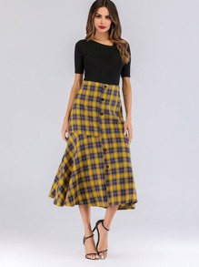 Tartan Plaid Button Front Ruffle Hem Skirt