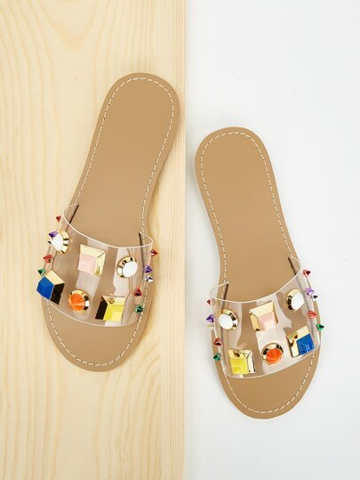 Jewelled & Studded Decor Flat Sliders