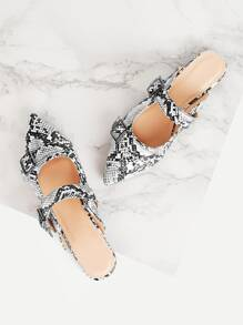 Snakeskin Pattern Buckle Decor Flat Mules