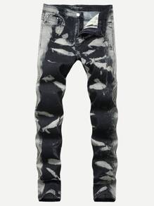 Men Tie Dye Shirred Wash Jeans