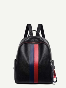 Striped Detail Pebble Detail Backpack