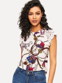 Guipure Lace Panel Cutout Back Chain Top