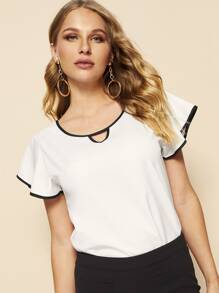 Contrast Trim Cut Out Neck Blouse