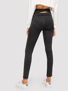 Criss Cross Back Solid Leggings