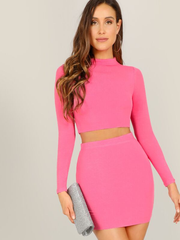 a615c2e6950 Cheap Neon Pink Mock-neck Crop Tee and Bodycon Skirt Set for sale ...