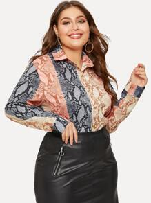 Plus Contrast Panel Snake Print Blouse