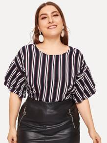 Plus Flounce Sleeve Striped Blouse