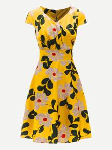 Plus Surplice Front Floral Print Zip Back Dress