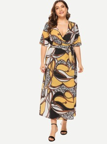 Plus Scarf Print Wrap Self Tie Dress