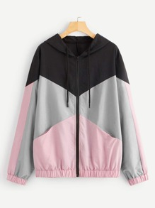Plus Colo-block Drawstring Detail Hooded Windbreaker Jacket