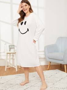 Plus Emoji Print Night Dress