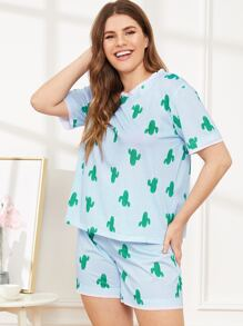 Plus Cactus Print Pajama Set